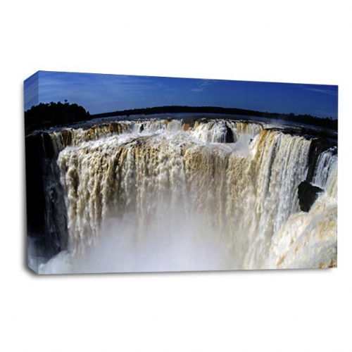Waterfall Wall Art Picture Forest Wood White Grey Black Print